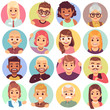 People in holes. Face in circular windows, emotional people greeting, smiling communicating characters. Avatars vector set