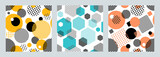 Three geometric seamless patterns with circles,squares, hexagons stripes and dots. Patterns for fashion and wallpaper. Vector illustration.