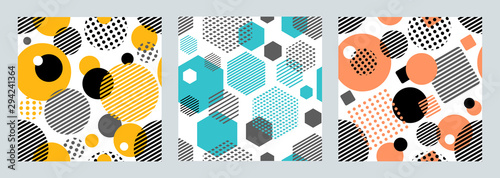 Türaufkleber Künstlich Three geometric seamless patterns with circles,squares, hexagons stripes and dots. Patterns for fashion and wallpaper. Vector illustration.