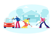Happy People Clean Home Yard Steps From Snow. Man In Red Santa Claus Hat And Girl Remove Snowdrift With Shovel. Neighbours Clearing Snow From Backyard After Snowfall. Cartoon Flat Vector Illustration