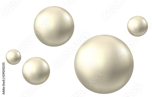 Realistic natural pearl isolated on white background. Fototapete