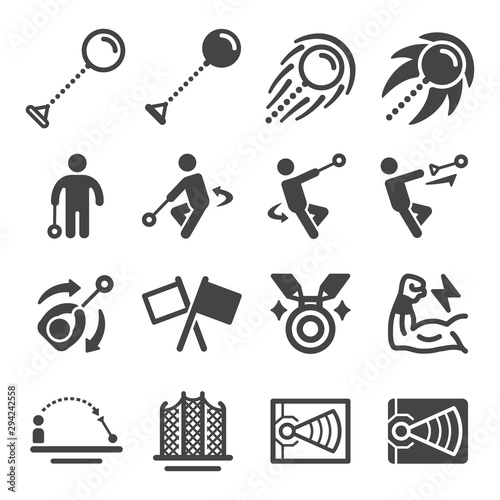Obraz na plátně hammer throw sport and recreation icon set,vector and illustration