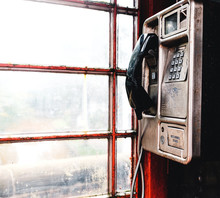 Red Phone Booth Dirty Old And Grimy