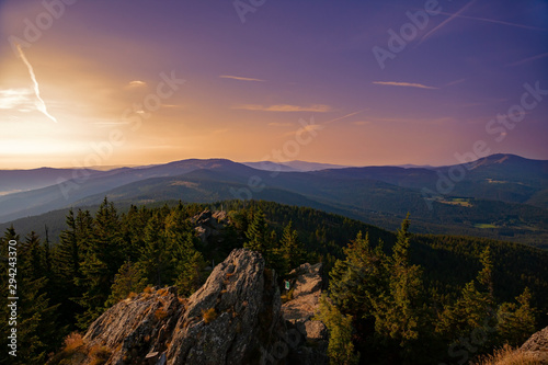 Photo Summer landscape at sunset in National park Bayerische Wald, view  from the  mountain Grosser Arber, Germany