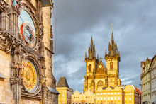 Astronomical Clock, Czech: Orloj, And Church Of Our Lady Before Tyn At Old Town Square In Prgue, Czech Republic