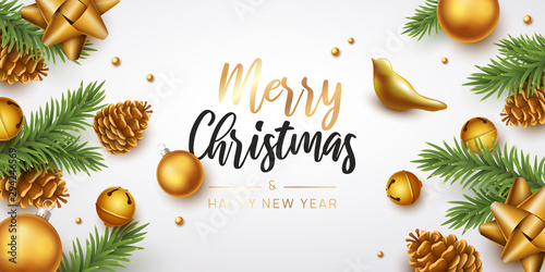 Fotografiet  Merry Christmas and happy new year background