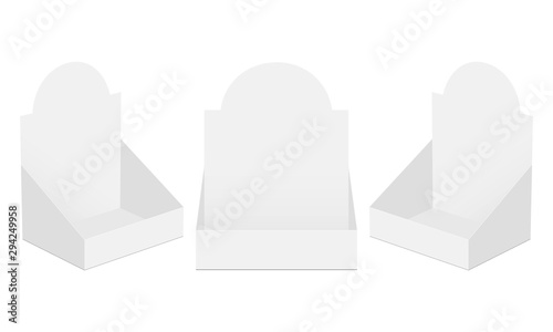 Fotografía Set of three POS display boxes isolated on white background