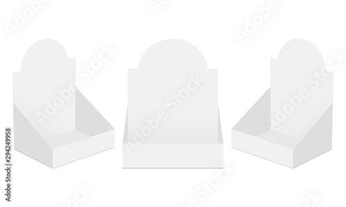 Obraz Set of three POS display boxes isolated on white background. Vector illustration - fototapety do salonu