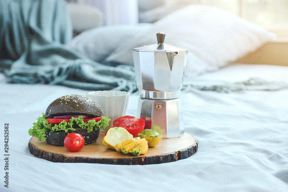 Fototapety, obrazy: Tray with tasty breakfast on bed
