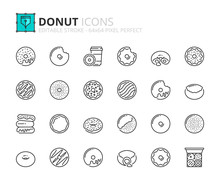 Outline Icons About Sweets Donuts. Bakery Products
