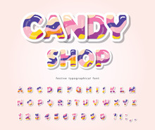 Paper Cut Out Sweet Font Design. Candy ABC Letters And Numbers. Glossy 3d Alphabet. Vector
