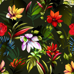 Panel SzklanyMagnolia, tropic leaves and bush on dark green. Watercolor. Seamless background pattern. Vector - stock.