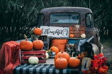 Old Vintage Classic GMC Truck With Pumpkins And Fall Colors