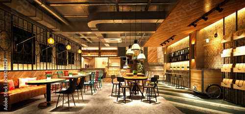 Spoed Foto op Canvas Restaurant 3d render cafe restaurant