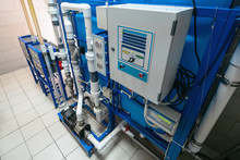 Automated Computerized Ozone Generator Machine For Ozonation Of Pure Clean Drinking Water In Water Production Factory