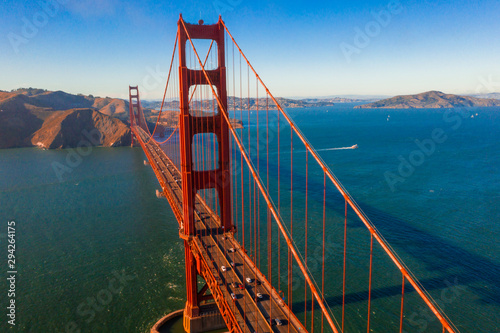 Aerial sunset view of the Golden Gate Bridge from Battery Spencer, Golden Gate National Recreation Area, in San Francisco, California фототапет