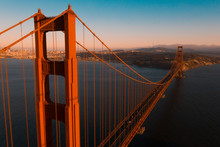 Beautiful Aerial San Francisco View At Early Morning Sunrise With Golden Gate Bridge And Downtown.