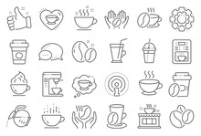 Coffee Line Icons. Beans, Hot ...