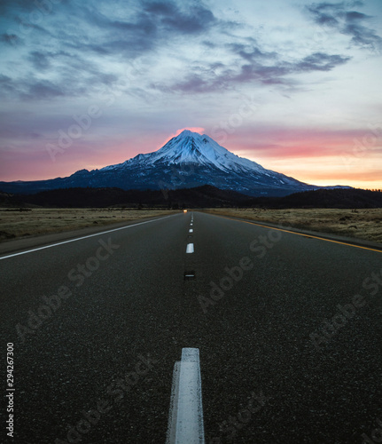 Long Road with Mountain at End
