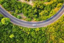 Aerial View Of Road With Car I...
