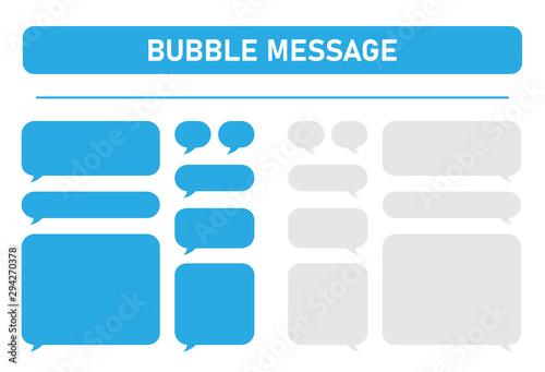 Fototapeta Big set of blue and gray message bubbles design template for messenger chat. Vector Illustrations. obraz