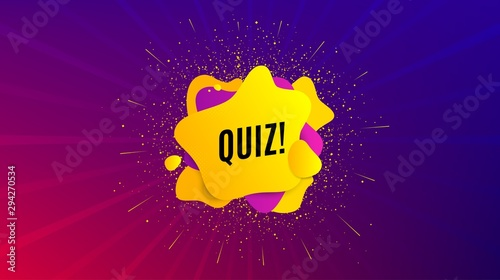 Quiz symbol. Dynamic text shape. Answer question sign. Examination test. Geometric vector banner. Quiz text. Gradient shape badge. Colorful background. Vector - 294270534