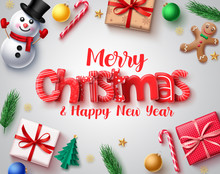 Christmas Vector Design Concept. Merry Christmas Holiday Season Greeting Card With 3d Xmas Elements Of Snowman, Gingerbread, Gift , Candy Cane, Balls And Pine Leaves In White Background.
