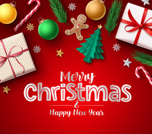 Christmas Greeting Vector Banner. Merry Christmas Typography Text For Holiday Season With Xmas Element Decoration Of Gift, Balls, Candy Cane, Pine Leaves, And Gingerhead In Red Background.