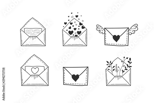 Fototapeta A set of envelopes. Vector illustration of hands in doodle style. Drawings of letters obraz