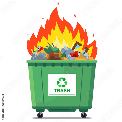 burning waste bin. flat vector illustration. green container Canvas Print
