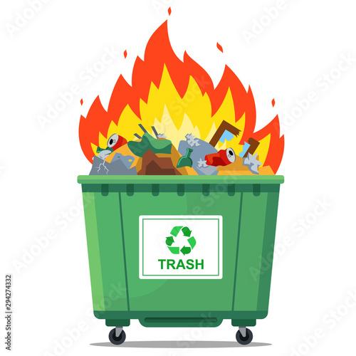 burning waste bin. flat vector illustration. green container Wallpaper Mural