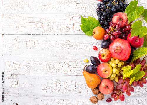 Various autumn fruits. Harvest concept - 294274588