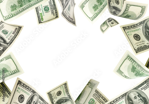 Money background. Hundred dollars of America. Usd cash money fal Poster Mural XXL