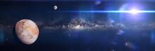 Earth Like Alien World, Exoplanet In Empty Space (3d Science Illustration Banner)