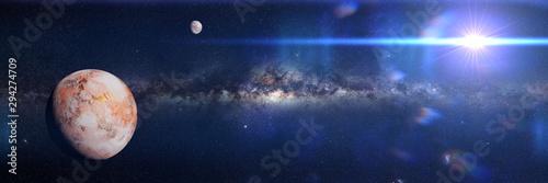 Earth like alien world, exoplanet in empty space (3d science illustration ban...
