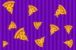 canvas print picture - Delicious italian pizza slice, illustration, drawing.