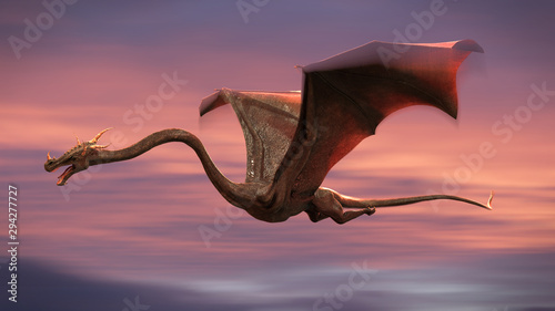 Fotografie, Obraz beautiful dragon, red fairy tale creature flying in the sky