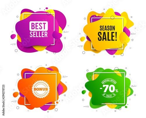 Season sale symbol. Liquid shape, various colors. Special offer price sign. Advertising discounts symbol. Geometric vector banner, square frames. Season sale text. Gradient shape badge. Vector