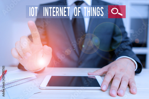 Photo Conceptual hand writing showing Iot Internet Of Things