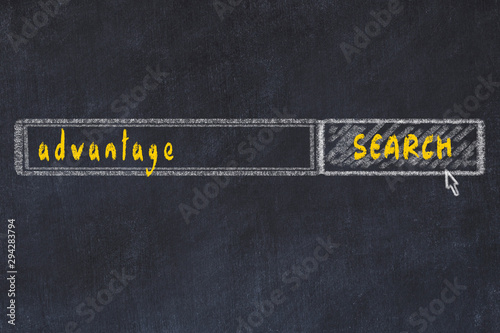 Photo Chalkboard drawing of search browser window and inscription advantage