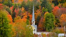 Church Steeple Between Autumn Trees In East Royalton Vermont