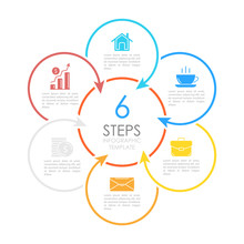 Vector Circle Chart Infographic Template With Arrow For Cycle Diagram, Graph, Web Design. Business Concept With 6 Steps Or Options.
