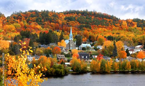 Naklejka premium Kościół w mieście Grandes Piles, Quebec, Kanada