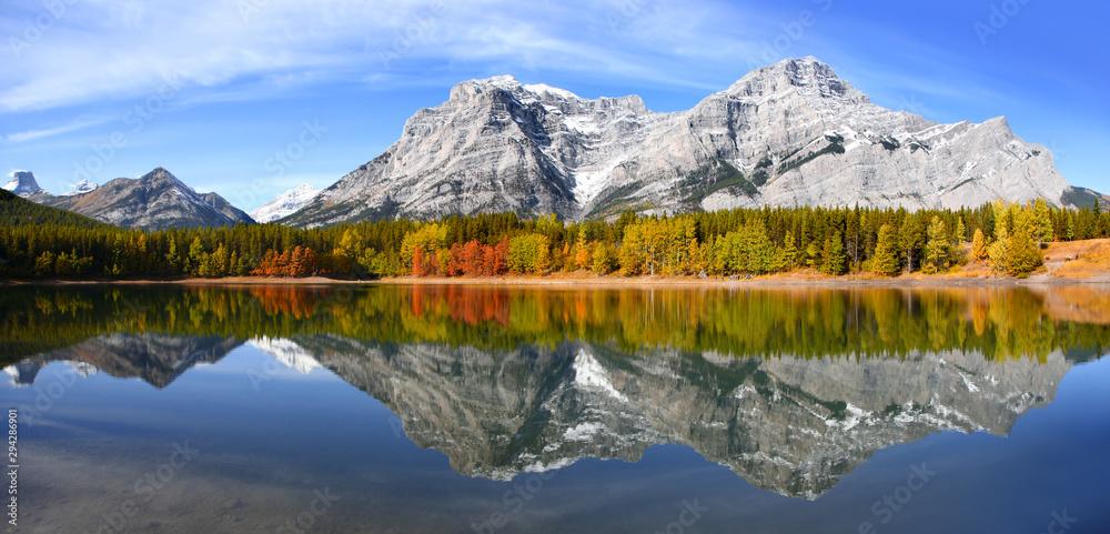 Fototapeta Scenic Wedge pond landscape in Alberta Canada
