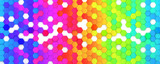 Fototapeta Rainbow - Abstract bright and colorful hexagon mosaic wallpaper or background - 3d render