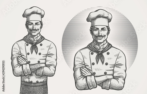 Fényképezés Male Chef Hatching Illustration