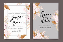 Autumn And Fall Flower Wedding Invitation Set, Floral Invite Thank You, Rsvp Modern Card Design In Pink Brown  Floral With Leaf Greenery  Branches Decorative Vector Elegant Rustic Template