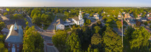 Old South United Methodist Church Aerial View Panorama At Sunset In Historic Town Center, Reading, Massachusetts, MA, USA.
