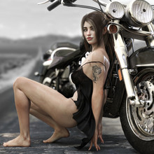Portrait Of A Long Brown Haired Female Wearing A Black Baby Doll Lingerie Outfit Posing Against Her Custom Chopper Motorcycle With An Endless Road Background. 3d Rendering Illustration.