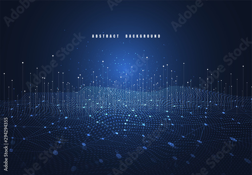 Foto auf AluDibond Stadion Abstract technology background with Big data. Internet connection, abstract sense of science and technology analytics concept graphic design. Vector illustration